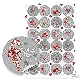 NEU 2018: 48 Weihnachtsaufkleber rund rot weiß grau Geschenk-Aufkleber Verpackung Weihnachtsgeschenke mit Papiertüten Sticker Etiketten 4 cm Weihnachtsverpackung FROHE WEIHNACHTEN