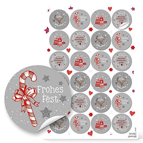 2018 : 48 autocollants ronds de Noël Rouge/blanc/gris, emballage cadeau avec sachets en papier 4 cm