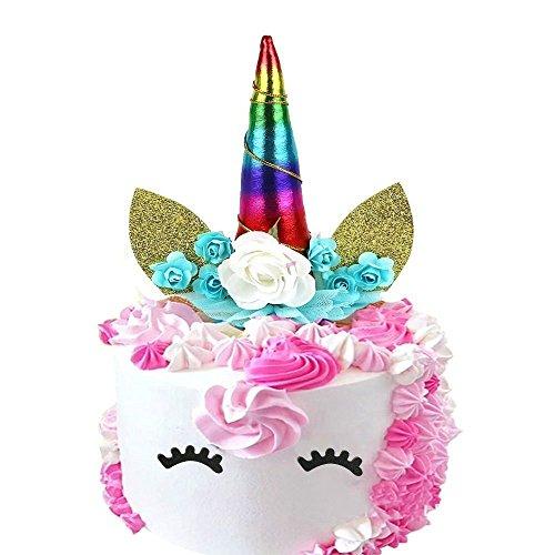 Decoración para tarta de unicornio, hecha a mano, diseño de unicornio con texto en inglés Happy Birthday Twinkle Colorful
