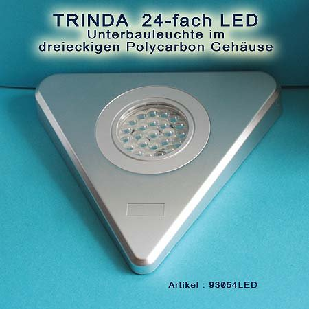 3er Set TRINDA Dreieckleuchten 24-fach LED weiss 1,7W mit Sensor Zentralschalter an einer Leuchte