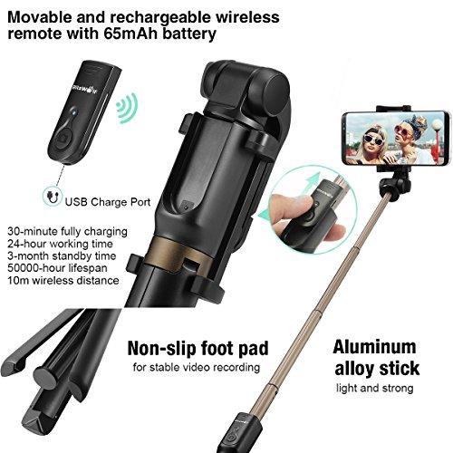 Bluetooth Selfie Stick Stativ, BlitzWolf Selfie-Stange Stab mit Bluetooth-Fernauslöse für iPhone X/ 8/ 7/ 7 plus/ 6s/ 6 Android Samsung Galaxy 3.5-6 Zoll Bildschirm- 3 in 1 Erweiterbar Monopod Mini Pocket Wireless Selfie Stick 360° Rotation (schwarz) - 2