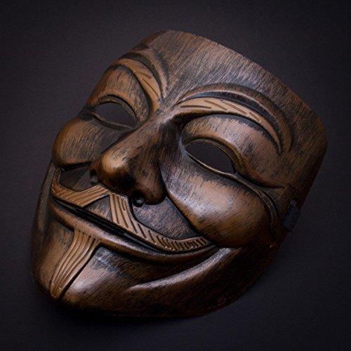 Luxus V wie Vendetta Maske Guy Fawkes Anonymous Replika Demo Anti Mask in Gold-Bronze (V Vendetta Maske)