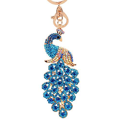 MAJGLGE Glänzender Pfauen-Anhänger Schlüsselanhänger mit Strasssteinen, Schlüsselanhänger, Tasche, Geldbörse, Auto, Ornament - Blau