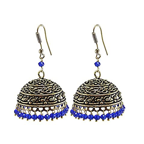 Bollywood Belly Dance Women Party Wear Jhumki Chandelier Earring With Smal Blue Crystals PG-103254