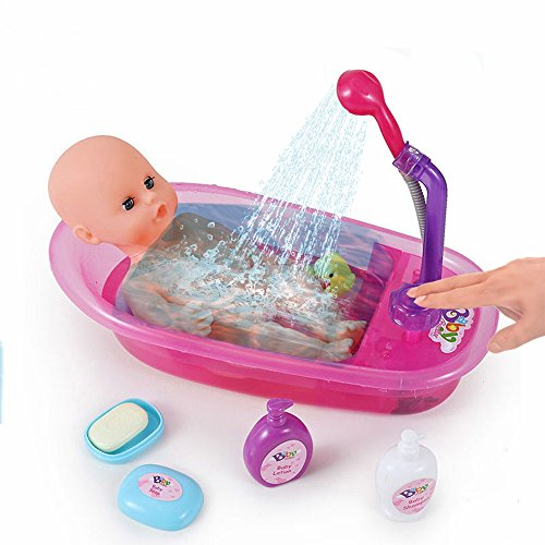 ❀ Brigamo Interaktive Puppen Badewanne mit funktionierender Dusche, inkl. Baby Badepuppe und viel Zubehör ❀