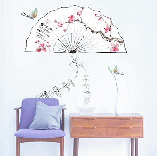 Longless China viento pegatinas de pared, ventilador de ciruela, sala de estudio,...