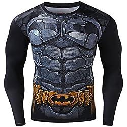 Camiseta deportiva de Batman para hombres manga larga (XXL)