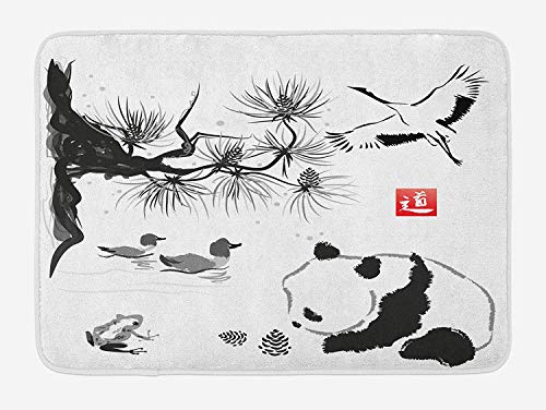 Asian Bath Mat, Bird Cedar Panda Bear Traditional Japanese Painting Style Art Hieroglyph Way, Plush Bathroom Decor Mat with Non Slip Backing, 23.6 W X 15.7 W Inches, Black White Red (Rv-monster-truck)