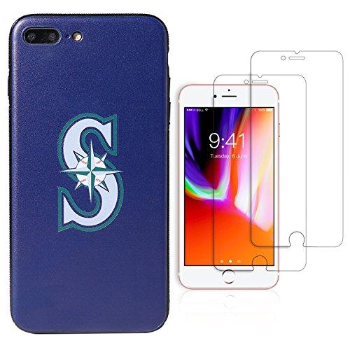 Sportula MLB Telefon Fall, für iPhone 7Plus/iPhone 8Plus (14cm), Passende 2Premium Displayschutzfolie Extra Value Set, Seattle Mariners Seattle Mariners Team-design