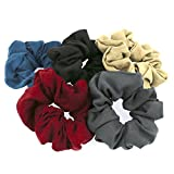 5er Set Frau Haar Zubehör Haar Krawatten Samt Elastisch Haargummis (Einfacher kühler Farbton-Samt (pack of 5)