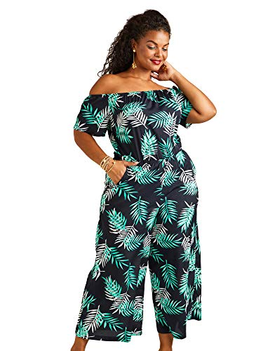 Navy Yumi Curves Palm Print Bardot Jumpsuit Yumi Fashion
