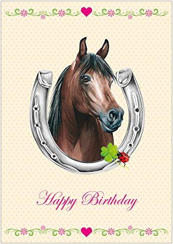 Happy Birthday Für alle Reiter und Pferde Freunde Kinder Geburtstags Glückwunschkarte in Beige/Creme mit Einem Pferd, Hufeisen, Kleeblatt, Glückskäfer und Blümchen (Mit Umschlag) (4)