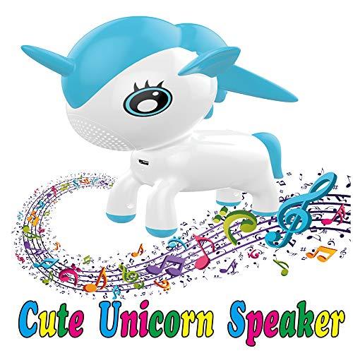 (VZOM Einhorn LED Bluetooth Lautsprecher Wireless (USB), RGB Farbwechsel Licht Pet Musical Player Lautsprecher, Neuheit Tierspielzeug Geschenk für Kind Baby Mädchen Jungen Kinder, Heim und Büro Dekor)