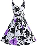 bbonlinedress 1950er Vintage Polka Dots Pinup Retro Rockabilly Kleid Cocktailkleider PurpleFlower M