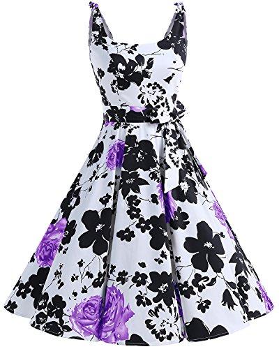 bbonlinedress 1950er Vintage Polka Dots Pinup Retro Rockabilly Kleid Cocktailkleider PurpleFlower M