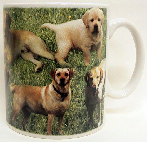 Labrador jaune Collage Mug en porcelaine Labrador jaune Scènes Tasse décorée à la main au Royaume-Uni