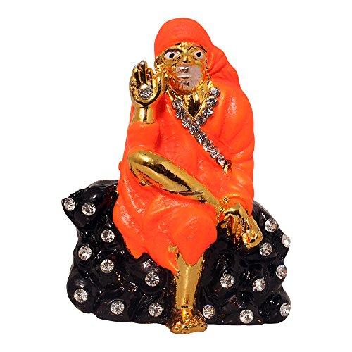 Brass 24 K Gold Plated With Stones Lord Sai Baba Car Dashboard Idol God Shri Sai Nath Statue Shirdi Sai Decorative Spiritual Puja Showpiece Figurine - Religious Pooja Gift for Mandir / Home  available at amazon for Rs.278
