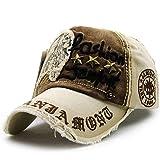 Kuyou Vintage Baseball Mütze Caps Distressed Sport Trucker Hat (Beige)