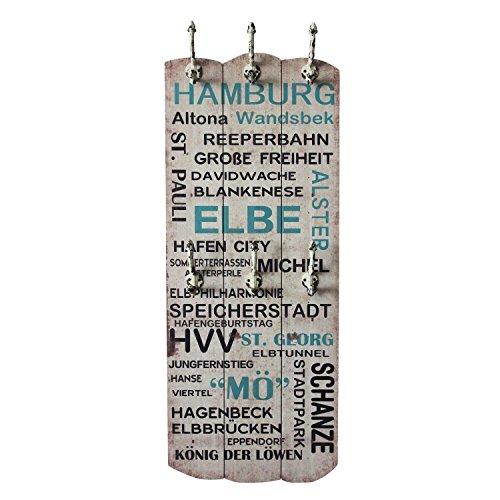 UMOI Vintage Wandgarderobe aus Massivholz mit 6 stabilen Wandhaken als hübsche Flurgarderobe im Shabby Stil Modell 2017 (Hamburg)
