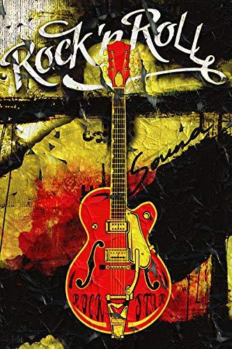 053 - Rock and Roll Plakat, Rock Star Gitarre Vintage Musik Größe 3:2-30.0 cm x 20.0 cm ()