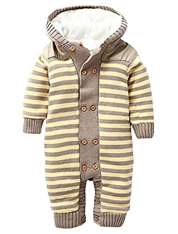 Ateid Baby Romper Hooded Jumpsuit Flannel Outfit Long Sleeve Stripe,