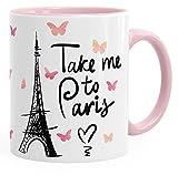 MoonWorks Kaffee-Tasse Take me to Paris Geschenk-Tasse für Frau Freundin Tasse mit Innenfarbe Rosa Unisize