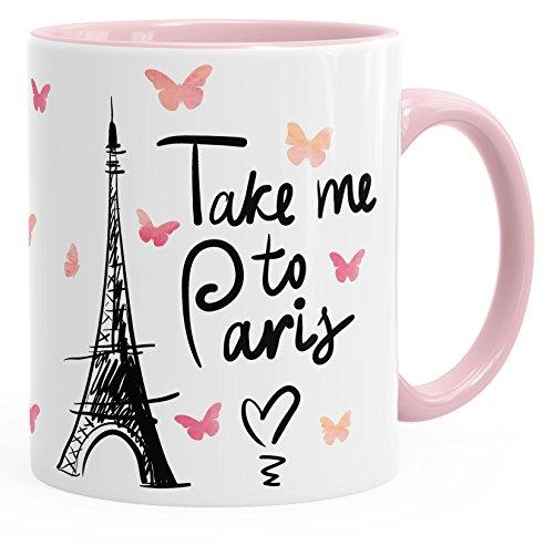 MoonWorks Kaffee-Tasse Take me to Paris Geschenk-Tasse für Frau Freundin Tasse mit Innenfarbe Rosa...