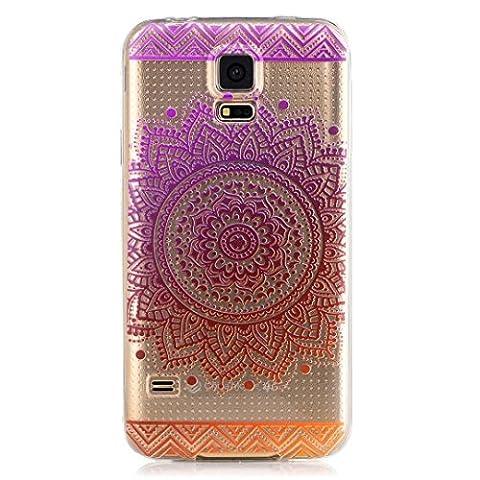 KSHOP TPU Silikon Hülle für Samsung Galaxy S5 Handyhülle Schale Etui Protective Case Cover dünn mit Drucken Muster - indisches Heilige Blume mandala