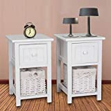 Set of Two Shabby Chic Bedside Table Storage Unit Traditional Style Bedside Table Unit Drawers Bedside Cabinet With Wicker Storage Basket, White Shabby Chic Bedside Unit With Wicker Storage. Pre-Assembled