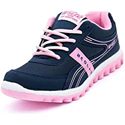 Asian Shoes Women's Navy Blue & Pink Shine Range Running Shoes 8 Uk