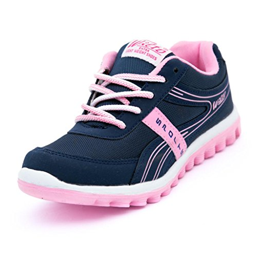 ASIAN Shoes Women's Navy Blue and Pink Shine Range Running Shoes - 5 UK