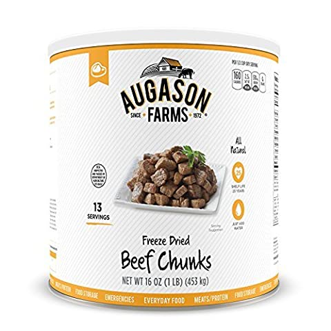 Augason Farms Freeze Dried Beef Chunks #10 Can, 16 oz by Augason Farms