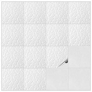 FoLIESEN Fliesenaufkleber Küche u. Bad-15x15 cm Stein-300, PVC Dekor Weißer Stein 300 Stück