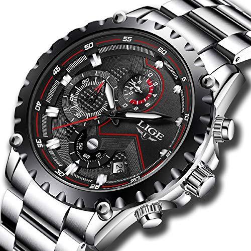 e72e3e261c4d5 LIGE Montre Quartz Cadran Noir Chronographe En Acier Inoxydable Étanche  Sport Pour Homme Luxe Affaire