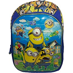 3D Minions Spiderman Doraemon Dorimon ben10 ben 10 Yellow & Blue Children's / kid's Backpack, school bag for class / standard - KG, LKG, UKG, First 1st, second 2nd, 3rd third, 4th fourth class for boys & girls 18 Liter, 20 Inch. For children ages 4 to 9 years