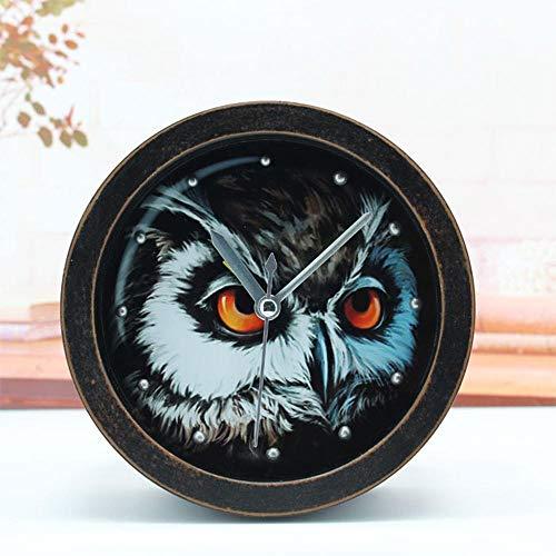 TtKj Mode kreativ Eule kleine Uhr Retro-alte Holz Desktop-Mute Uhr - 12 * 12 cm - Alte Holz Uhr