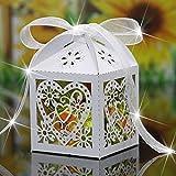EMOTREE 100x Gastgeschenk Herz Süßigkeiten Geschenkbox Schachtel Hochzeit Geschenkverpackung