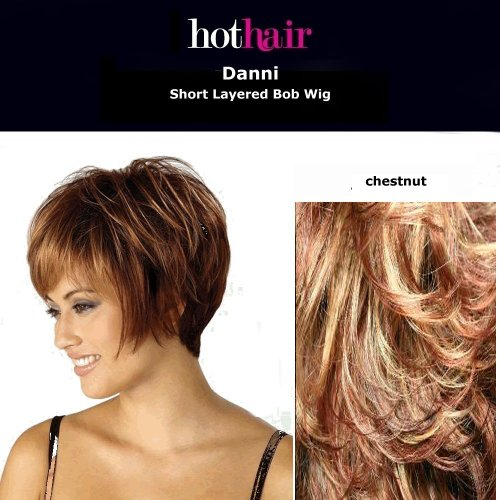 Hothair - Danni - Perruque carré court dégradé - Noisette