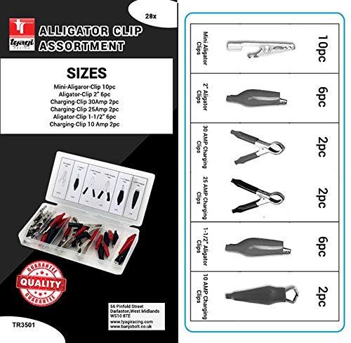Corde la Racing Pince Crocodile Assortiment kit 28 pièces électriques, Clip