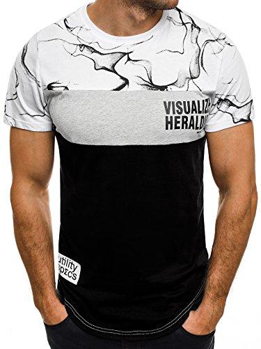 OZONEE Herren T-Shirt mit Motiv Kurzarm Rundhals Figurbetont J.STYLE SS012 Weiß_JS-SS111