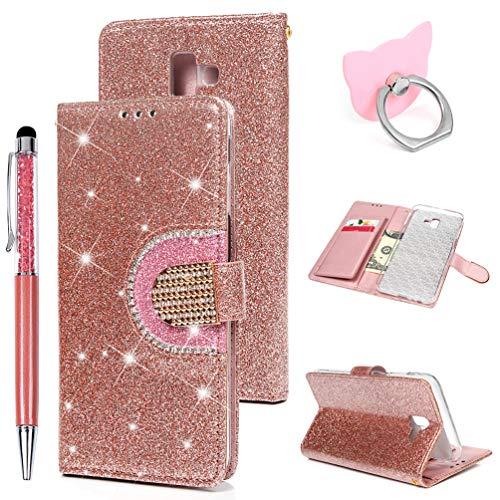 Preisvergleich Produktbild J6 Plus 2018/J6 Prime Handyhülle Flip Case für Samsung Galaxy,Idlehour PU Leder Case Cover Magnet Schutzhülle Tasche Skin Ständer Handytasche,Rosagold Diamant