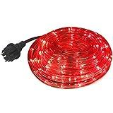 com-four® LED Lichtschlauch mit rotem Licht für Innen- und Außenbereich, Flexible Lichterkette als ganzjährige oder saisonale Deko-Beleuchtung, 6 m (06 Meter rot - 01 Stück)