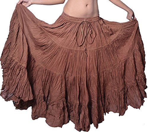 Plain 25 yarda yardas Tribal Belly Dancing Gypsy en coton Jupe de danse ATS L36 pouces variation-Couleur Marron