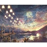 Menddy Dipinto con Numeri Ragazza Che Guarda i fuochi d'artificio - Pittura ad Olio Pittura acrilica Digitale Fai da Te per Bambini Adulti Regalo di Natale Senza Cornice 40x50cm