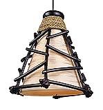 Dekoleuchte Design Deko Lampe Romy 30 cm hoch, Deckenleuchte Pendelleuchte aus Naturmaterialien Zweige Rattan braun, Stoff natur gold, Stimmungslicht