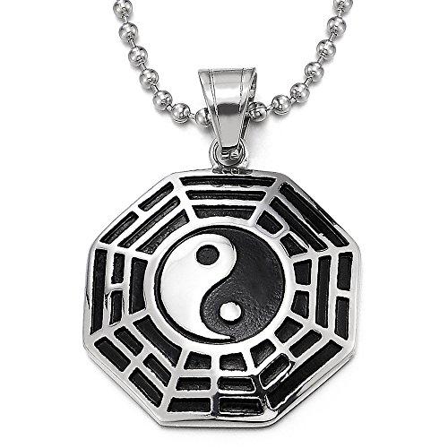 COOLSTEELANDBEYOND Plata Negro Tai Chi Yin Yang Bagua Ocho Diagramas Collar con Colgante de Hombre Mujer, Acero Inoxidable, 75cm Cadena
