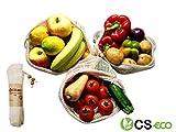 CSeco Premium Obst und Gemüsebeutel - Shopper Set - Wiederverwendbare Einkaufstasche aus Baumwolle, 3 Stück Größe S, M, L - Zero Waste Aufbewahrungstaschen.
