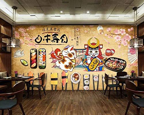 Sktyee carta da parati ristorante giapponese con sushi ristorante murale personalizzato ristorante murale ristorante giapponese con sushi murale gatto fortunato, 300x210 cm (118,1 x 82,15 pollici)