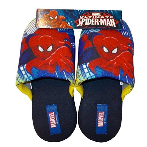 Spiderman pantofole cotone bambino originali marvel web b62 con elastico fino alla 29/30 (35/36, blu)