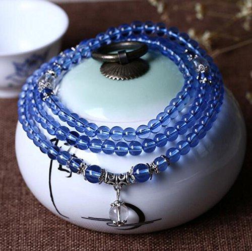 K&C 108 Mala 6mm Amazonite Perlen Elastische Schnur Buddhistische Gebet Armband Edelstein Herren Womens Armband Himmel Blau